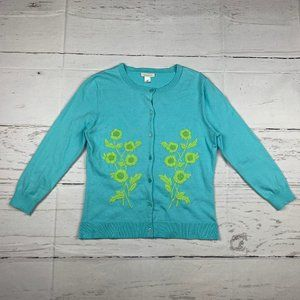 Garnet Hill 3/4 sleeve button cardigan sweater K15